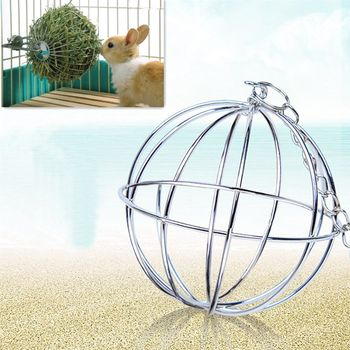 Stainless Steel Pet Rabbits Toys Round Sphere Feed Dispense  1