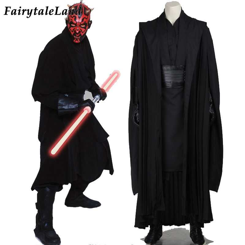 Star Wars Jedi Knight Darth Maul Cosplay Kostüm Halloween Karneval Party Superhero Outfit Darth Maul Schwarz Samurai Anzug