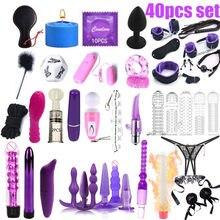 Lote de juguetes sexuales para mujeres, esposas, pinzas para pezones, látigo para azotes, silicona sexual, tapón Anal de Metal, vibrador Bdsm para Bondage