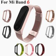 Novo mi banda 6 pulseira de metal pulseira para xiaomi mi banda 6 screwless mi banda 6 pulseira miband banda de pulso inteligente band4 aço