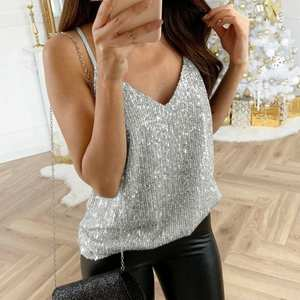 Tank-Top Swing-Vest Clubwear Camis V-Neck Sequin Sparkle Glitter Strappy Party Sexy Plus-Size
