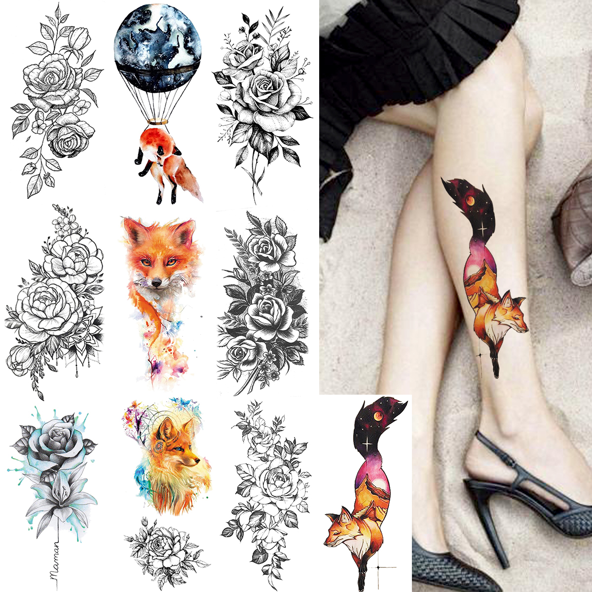 Watercolor Fox Flash Temporary Tattoo Sticker For Women Rose Flower Arm Tatoos Body Leg Art Disposable Fake Tattoo Paper Makeup