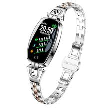 H8 su geçirmez akıllı bilezik kadın spor Smartband kalp hızı kan basıncı monitörü spor takip saati iOS Android için