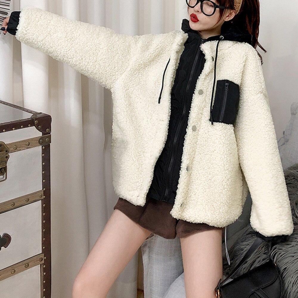 SexeMara 2019 hiver nouveau Parkas à capuche col pleine manches couleur épissage fermeture éclair épais dames mode ample chaud manteau CPK023