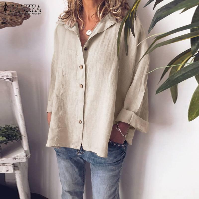 Осенняя блузка ZANZEA, Женская хлопковая льняная туника с длинными рукавами, топы, большие размеры, модная Однотонная рубашка с отворотом и вор...