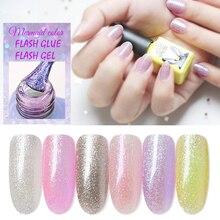 Flashing Nail Polish Color 6ml Gel Lacquers Hybrid Varnish 6 Colors Shine Shimmer Manicure Soak Off UV LED Polish Bottle Art Gel недорого