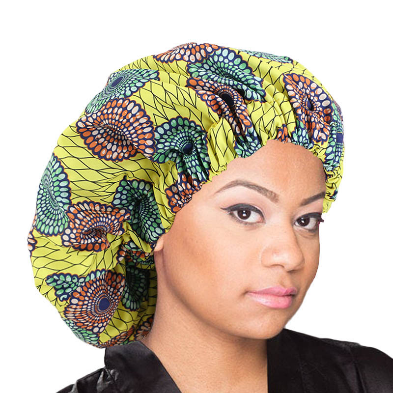 African Pattern Ankara Print Bonnet Women Night Sleep Cap Satin Lining Soft Extra Large Head Wear Ladies Headwrap Hair Care Hat
