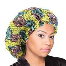 Padrão africano ancara impressão gorro noite das mulheres boné de sono forro cetim macio extra grande cabeça wear senhoras headwrap chapéu de cuidados com o cabelo