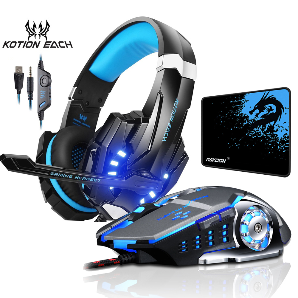 Each Gaming Headphone Stereo Over-Ear Game Headset Headband Earphone With Mic LED Light For PC Gamer+6 Button Pro Gaming Mouse