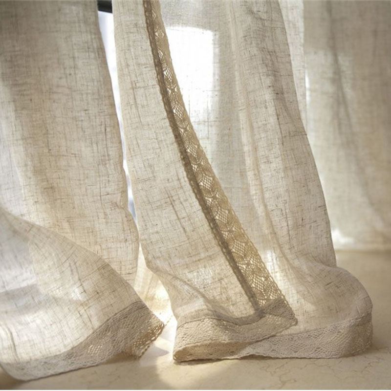 Natural Nostalgic Linen Tulle Curtains Flax Material Wire Netting Gauze Sitting Room Balcony Window Shade  Home Curtains home curtains tulle curtainswindow shades - title=
