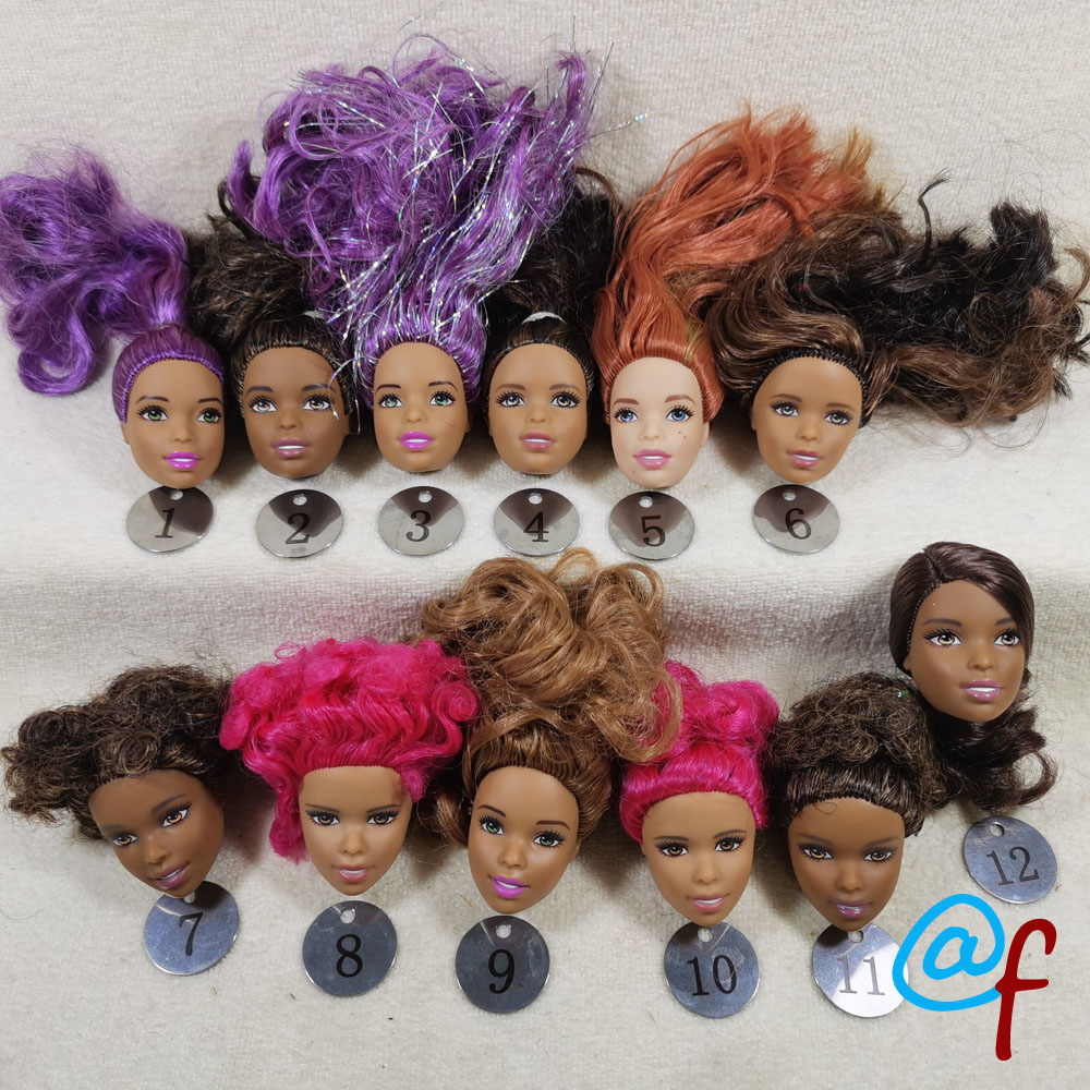 B333-2 Original Foreign Trade Africa Beauty 1/6 OOAK NUDE Rarely Doll Head Mussed Many Hair For DIY