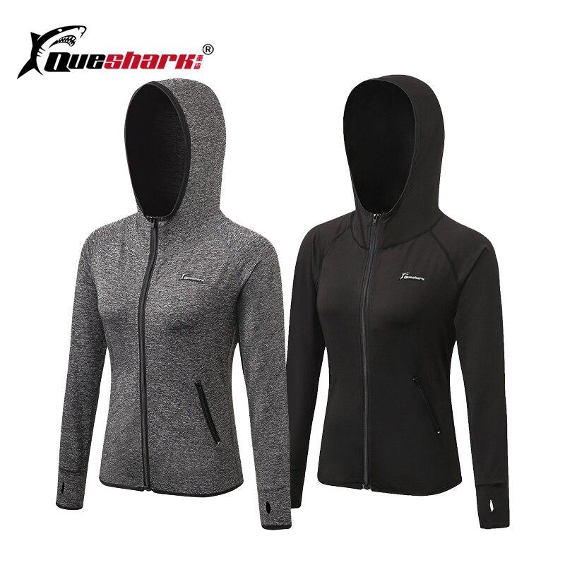 Queshark Women Running Hooded Jacket Yoga Zipper Long Sleeve Shirt Sports Fitness Ladies Hoodies Women's Jacket Training Shirt