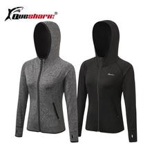 Queshark, Женская куртка с капюшоном для бега, для йоги, на молнии, рубашка с длинным рукавом, Спортивная, для фитнеса, женские толстовки, Женская куртка, тренировочная рубашка