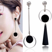 Fashion Personality Circle Drop Earrings For Women Korean Exaggerates Asymmetrical Gold Color Temperament Long Earrings 2020 pair of trendy solid color circle long earrings for women
