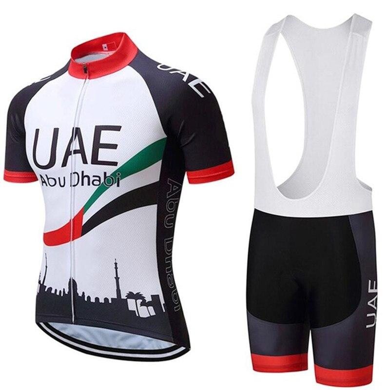 新 2019 UAE サイクリングチーム tシャツバイク 12D ゲルパッドショーツセット男性クイックドライプロサイクリングジャージー bib ショーツ服 - title=