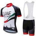 Novo 2019 uae ciclismo equipe camiseta bicicleta 12d gel almofadas shorts definir para os homens de secagem rápida pro ciclismo camisa bib shorts roupas