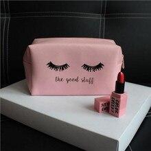 Pink Handbag kawaii Eyelashes Cosmetic Bag PU Makeup Pouch B