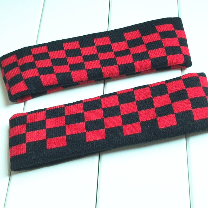 Kpop Bangtan Boys JK Concert Design Elastic Headband Knitted Hair Band Sports Hair Tide Headgear Red Plaid Color Hairband