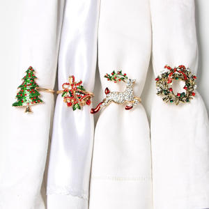 Napkin-Rings Decoration Table-Supplies Wreath Mouth-Ring Flower Gifts Christmas-Tree