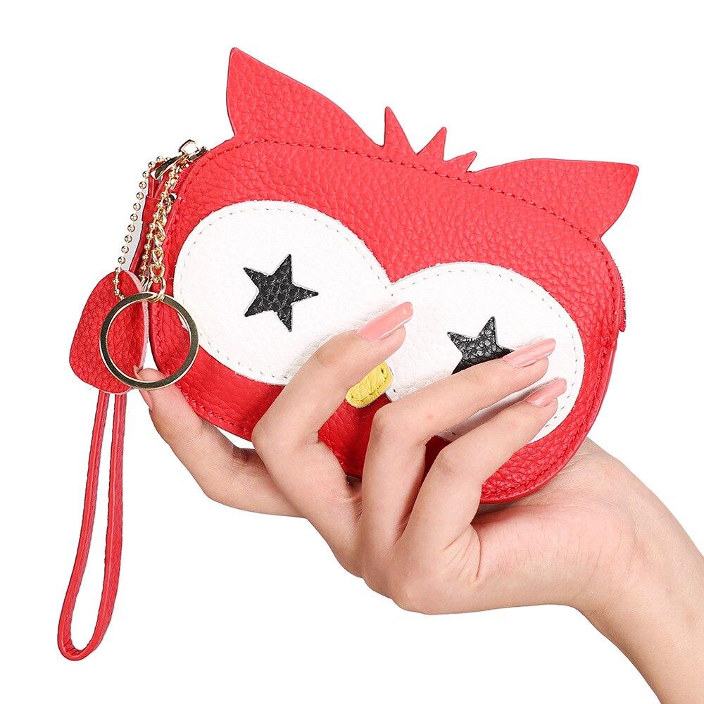 Купить с кэшбэком Cute Coin Purse Cartoon Owl Creative Women's Mini Wallets Keychain Small Wrist Bag Genuine Leather Change Purse for Girl Gifts