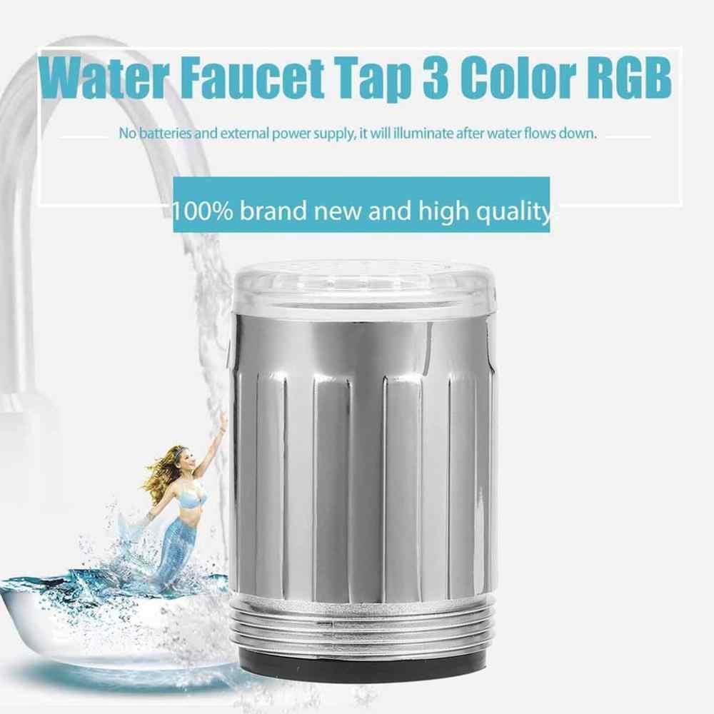 3 色の光/シングル色の蛇口シャワーの蛇口の温度センサーバッテリなし水の蛇口グローシャワー左ねじ