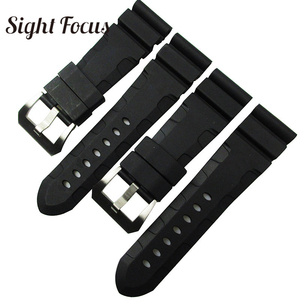 Image 2 - 24mm 26mm Dive Watch Bands for PAM Rubber Silicone Strap Pre V buckle Wrist Watch Bracelets Sport Band Div Watch Straps Orologio