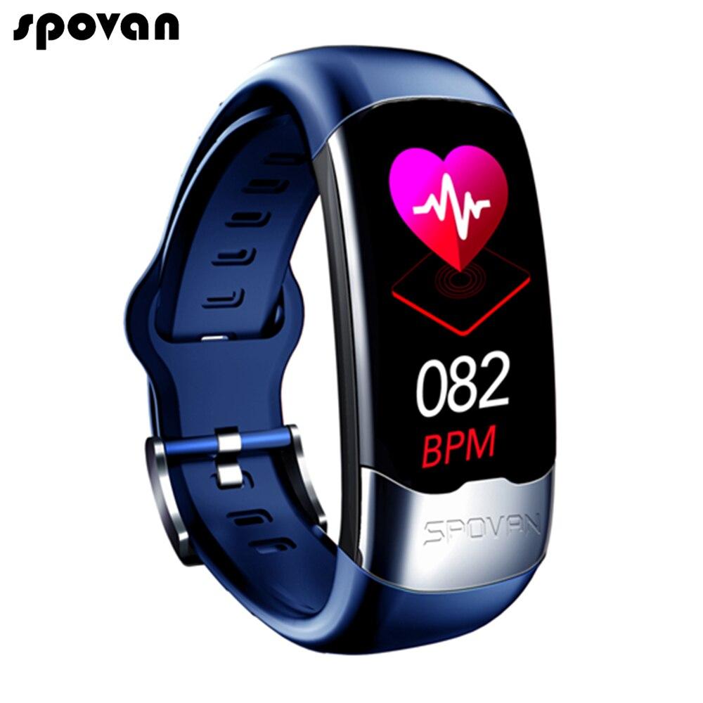 Spovan Bracelet intelligent ECG PPG HRV moniteur Cardio Bracelet podomètre pression artérielle Sport activité Tracker Bracelet intelligent hommes femmes