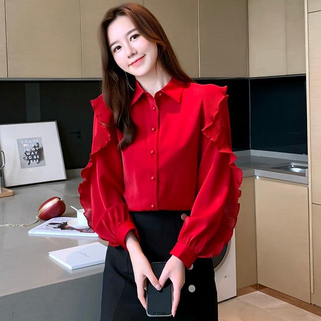 Korean Women Blouses Women Chiffon Blouse Shirts Woman Lantern Sleeve Shirt Woman Ruffles Blouse Office Lady Red Shirt Plus Size 5