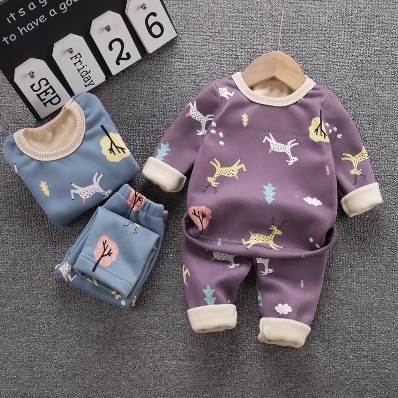 12M-8 Years 2Pcs/Set Pajamas Children's Underwear Suit Cartoon Velvet Warm Girl's Clothes of Winter Baby Boys Babies Clothes 1