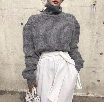 Women Turtleneck Pullover Sweater Winter Ladies Fashion Long Sleeve Loose Hollow Out Back Knitted sweaters Jumpers JK284 недорого
