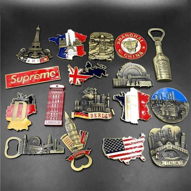3d Refrigerator Sticker Venice Magnet Metal Fridge Magnet Souvenir Berlin Castle Brazil Jesus Kitchen Magnet Stickers Home Decor