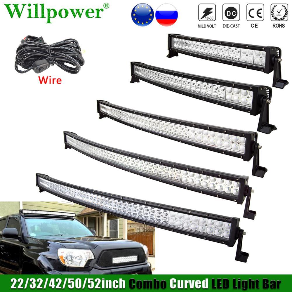 Изогнусветодиодный светодиодная световая панель для внедорожника, передняя фара для джипа JK, 4x4, грузовика, UTV, противотуманная фара для 4WD, 22...