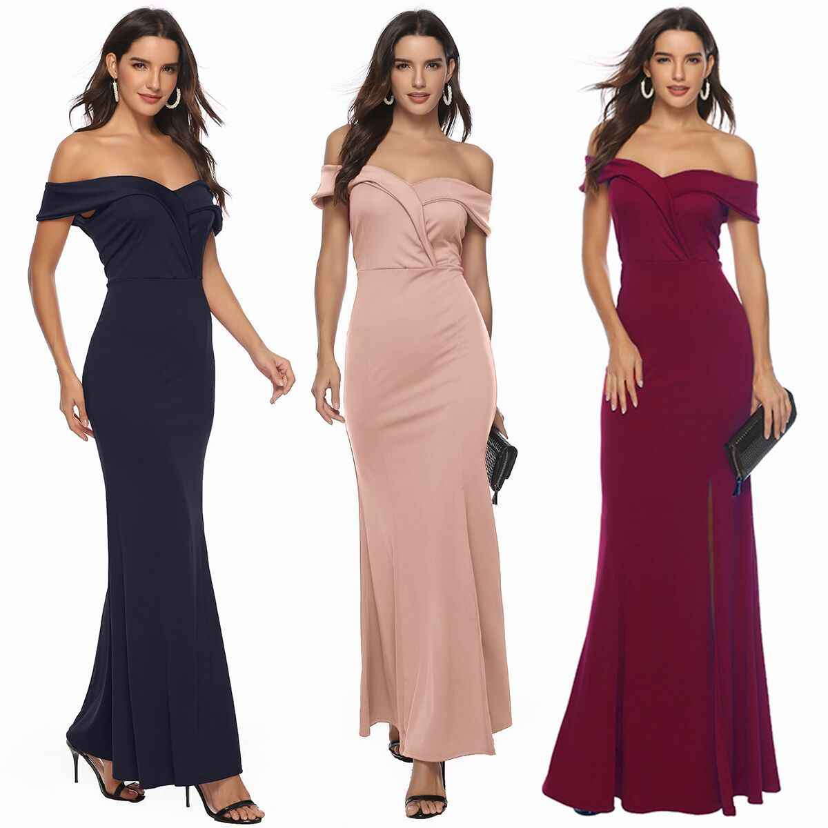 Women Off Shoulder ladies Dresses Casual Long Maxi Evening Party Beach sexy Dress Women Solid V-neck elegant Costume vestidos