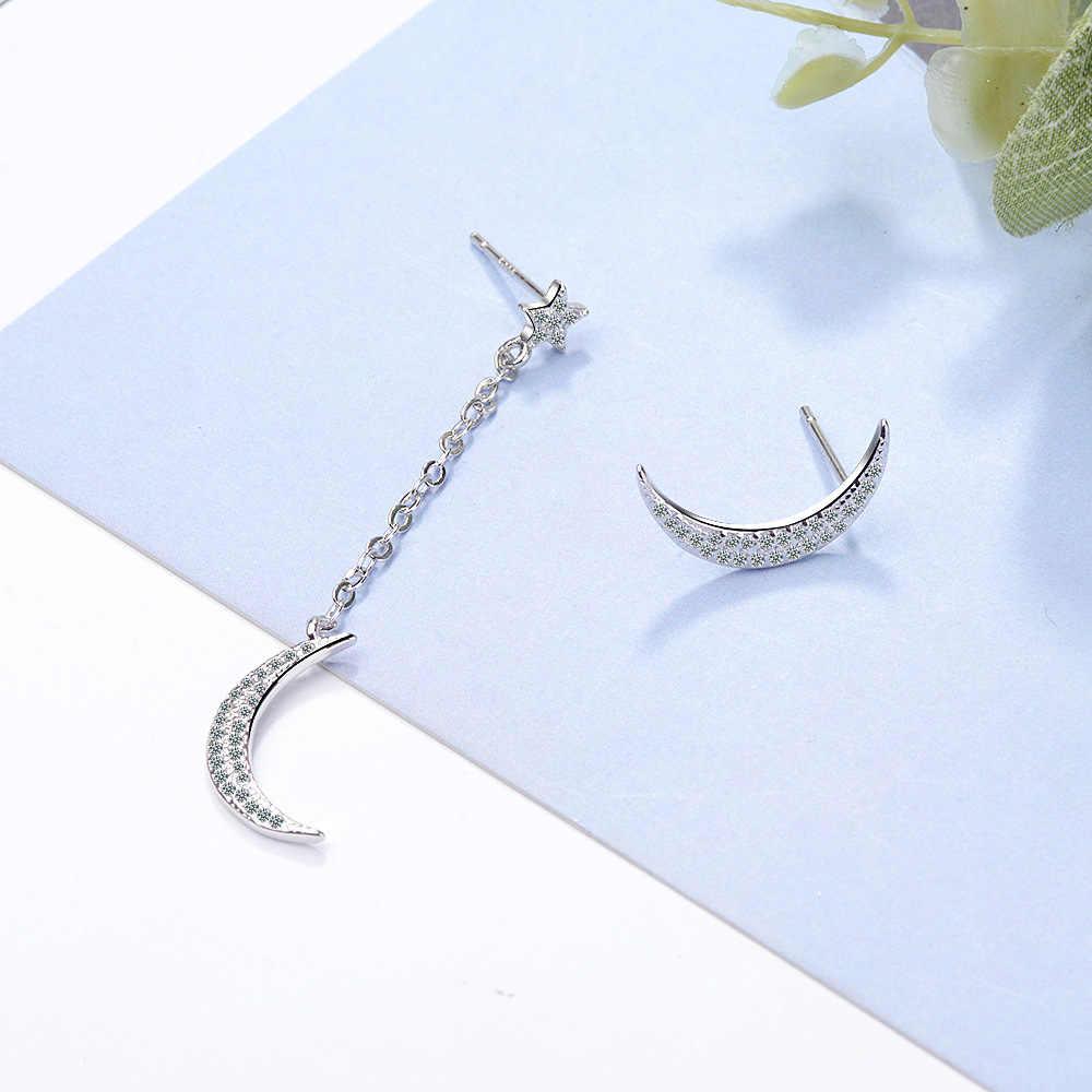 100% 925 Sterling Silver Asymmetry Moon & Star Crystal Ladies Stud Earrings Jewelry Women Christmas Gift Never Fade