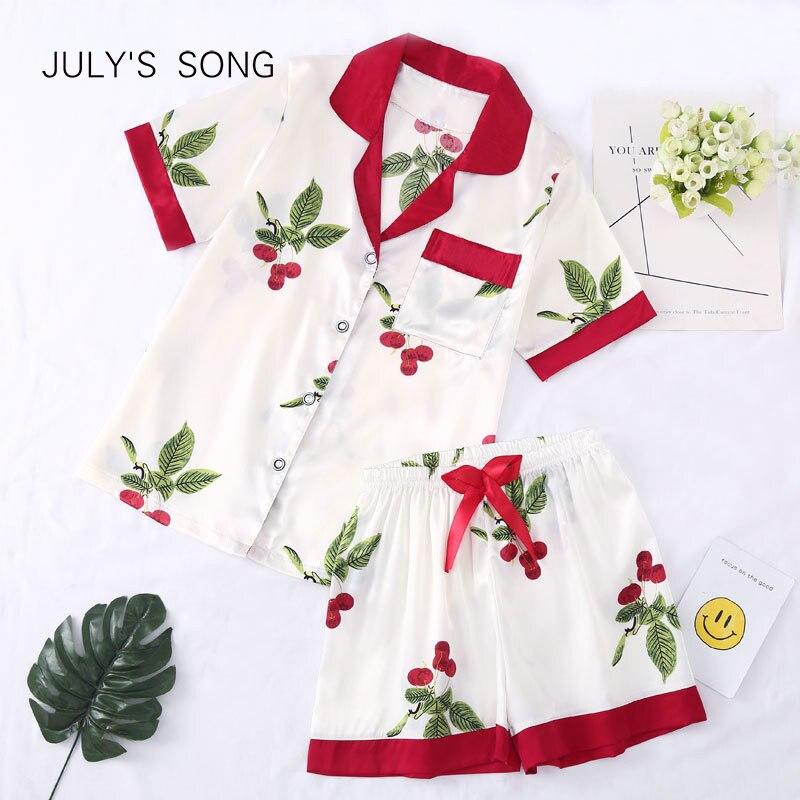 JULY'S SONG Women's Faux Silk Pajamas Set 2 Pieces Short Sleeves Sleepwear Pajamas Suit Shorts For Female Pajamas Lounge