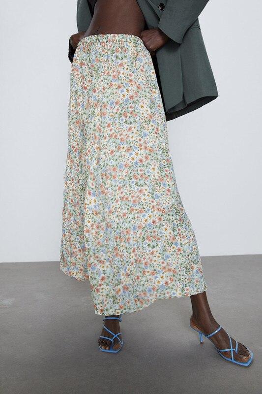 2020 New Spring Summer European Wrinkles Effect Printed Zaraing Women Skirt Vadiming Sheining Female Skirt Streetwear XDN9681