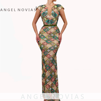 ANGEL NOVIAS Long Elegant Women Arabic Abendkleider Mermaid Sequins Lace Evening Dresses 2019 Vestido De Fiesta Largos De Noche