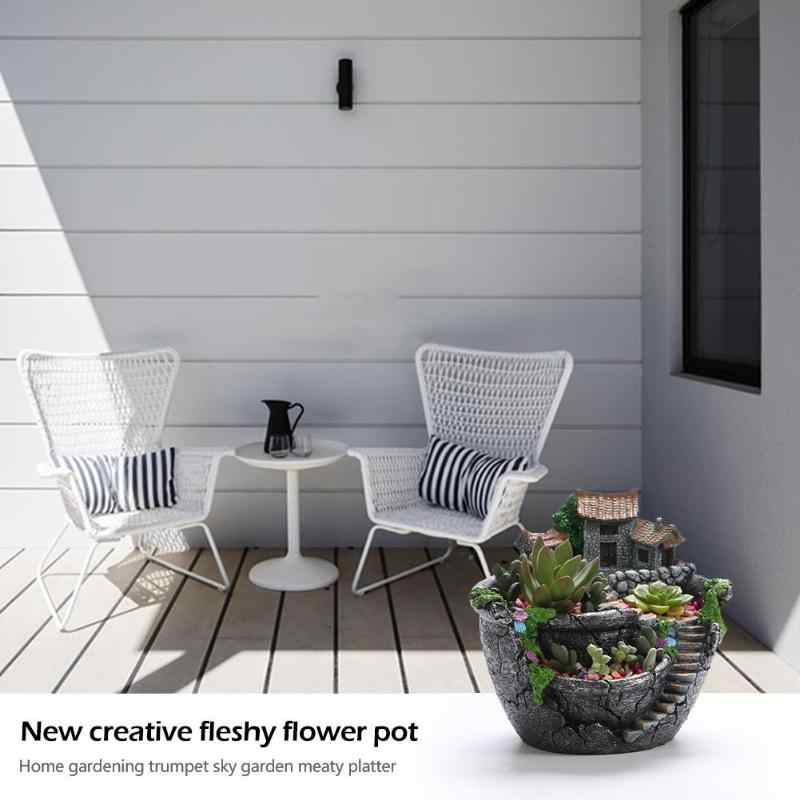 樹脂多肉植物プランター植木鉢デスクトップ鉢植えホルダー家の装飾