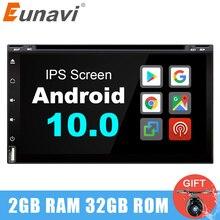 Eunavi 2 DIN Android 10.0 เครื่องเล่นดีวีดีวิทยุเครื่องเล่นมัลติมีเดีย 2DIN GPS Navi headunit หน้าจอสัมผัส IPS WIFI ใน Dash