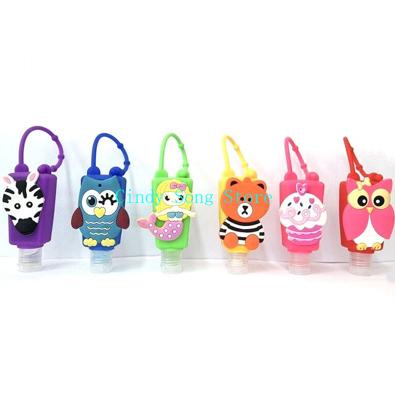 30ml Cute Creative Cartoon Animal Bath Body Works Silicone Portable Hand Soap Hand Sanitizer Holder With Empty Bottle
