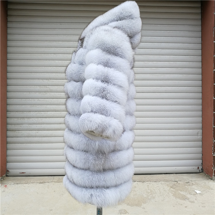 100% Natural Real Fox Fur Coat Women Winter Genuine Vest Waistcoat Thick Warm Long Jacket With Sleeve Outwear Overcoat plus size 115