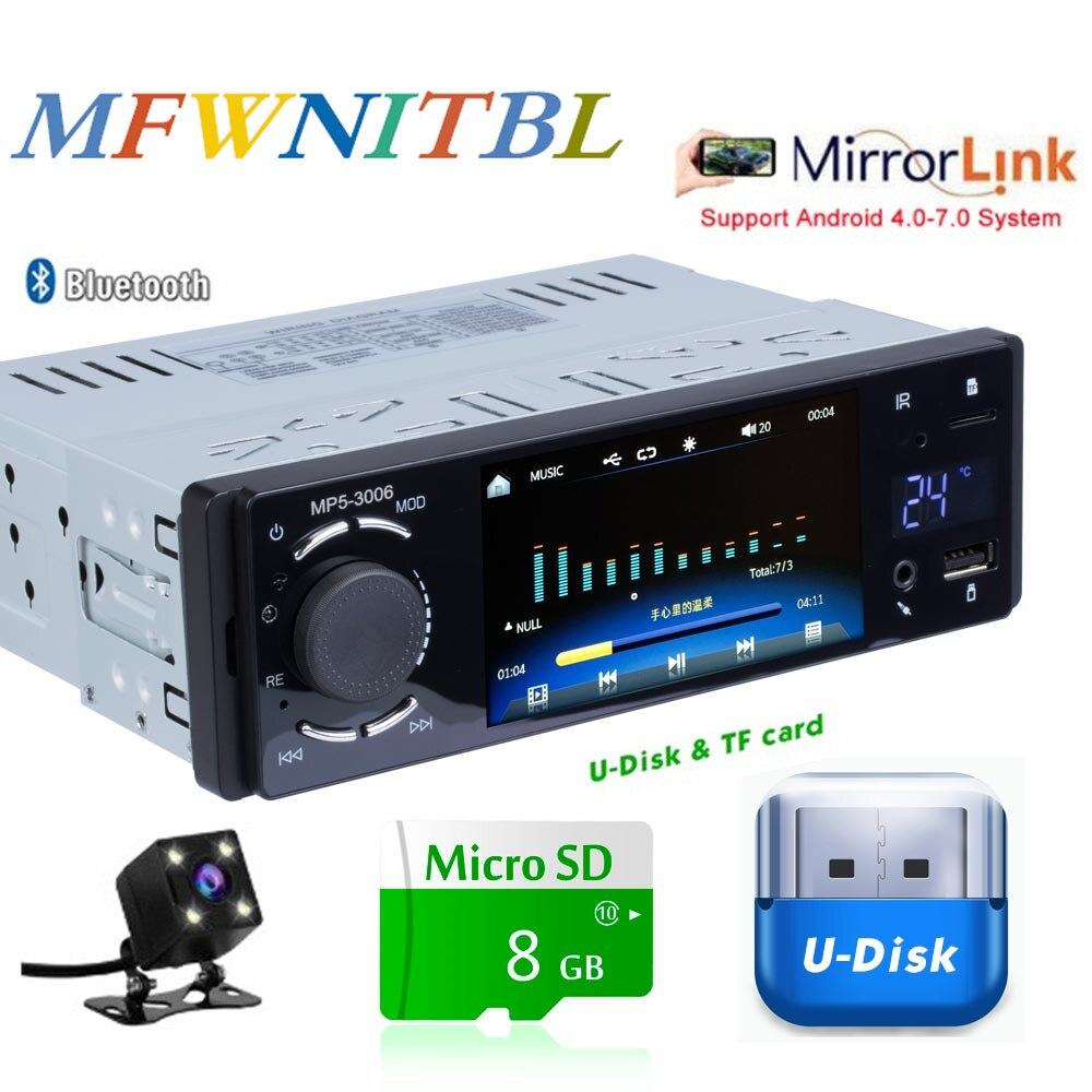 For Iphone Radio Audio Bluetooth HeadUnit 4x60W USB In-dash 1 DIN Car FM Set