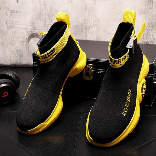 Zapatos de calcetín de punto para Hombre, Zapatillas transpirables con plataforma de malla, botines planos informales, de verano 2