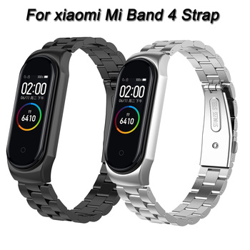 Mi Band 4 Strap Metal Stainless Steel For Xiaomi Mi Band 4 Strap Bracelet Miband 4 Wristbands Adjustable Pulseira Accessories