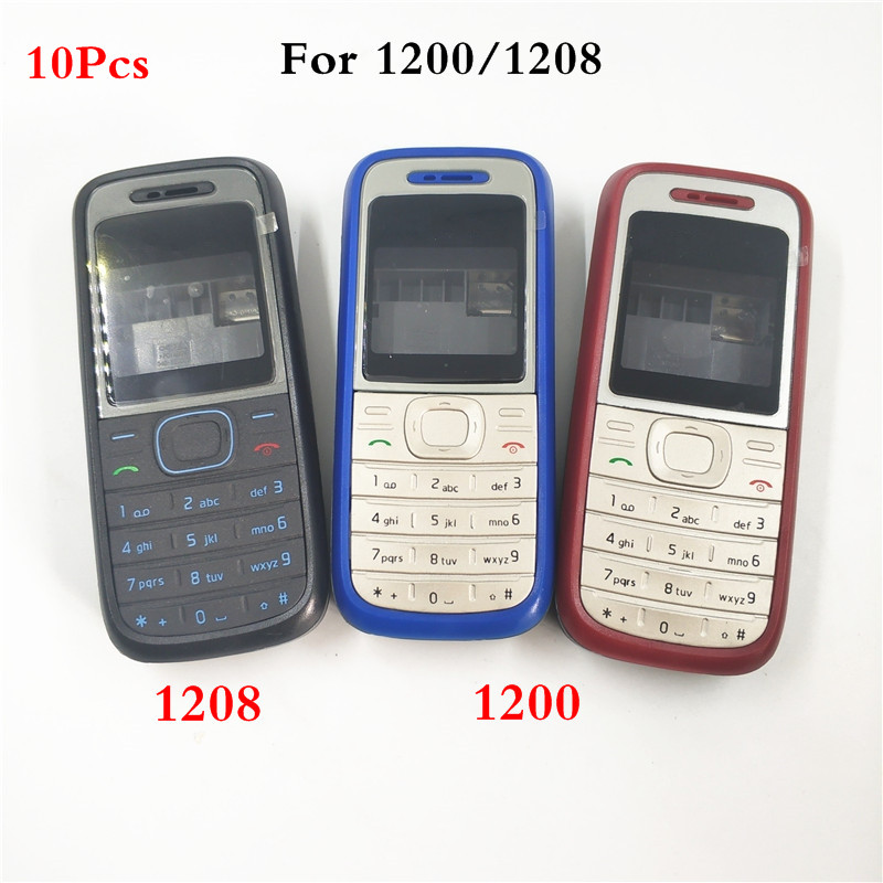10Pcs/lot New High Quality Cover For <font><b>Nokia</b></font> <font><b>1200</b></font> 1208 Full Complete Mobile Phone <font><b>Housing</b></font> Cover Case English Keypad image