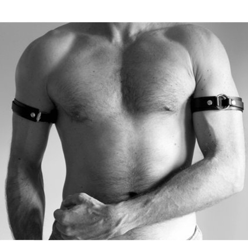Men Sexy PU Leather Armband Fetish Gay Harness Belts Adjustable BDSM Bondage Body Cage Arm Rings Erotic Rave Cosplay Clubwear