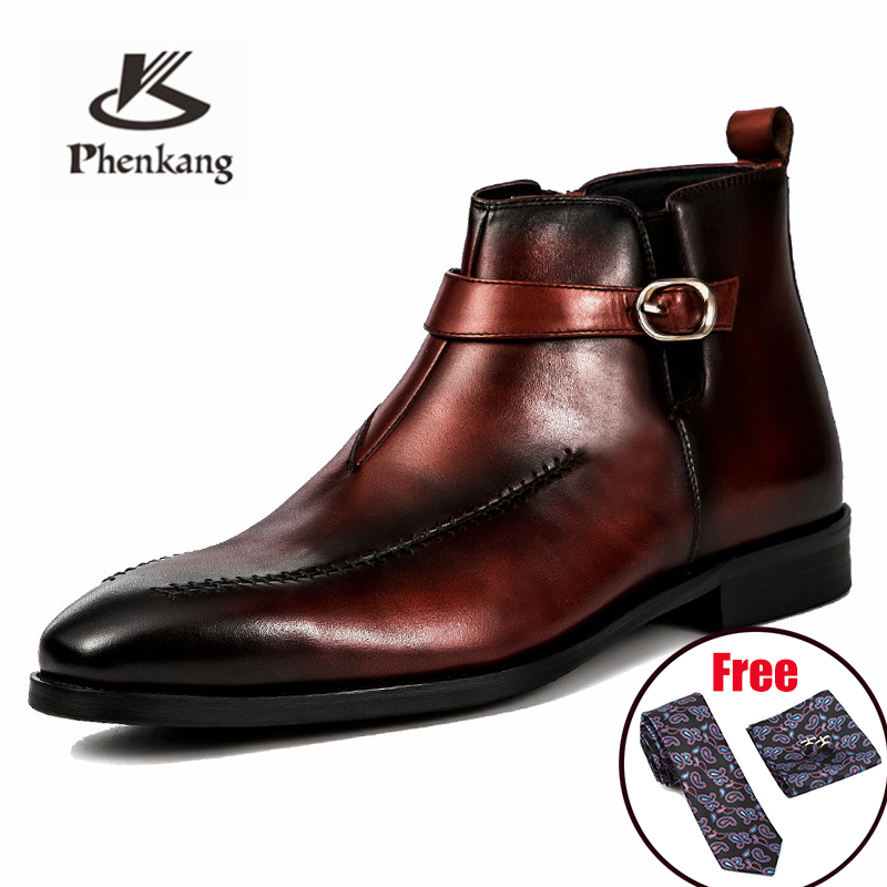Men Winter Boots Genuine Cow Leather Chelsea Boots Brogue Casual Ankle Flat Shoes Comfortable Quality Zipper Dress Boots