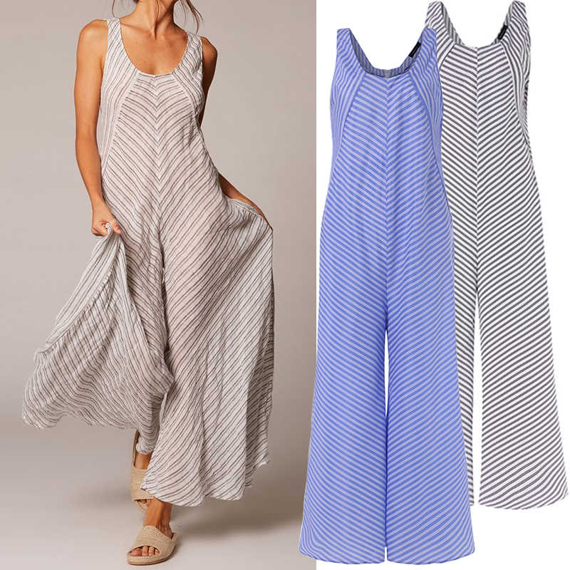 Celmia Vintage Striped Jumpsuit for Women 2019 Summer Sleeveless Rompers Wide Leg Pant Casual Workwear Female Overalls Plus Size