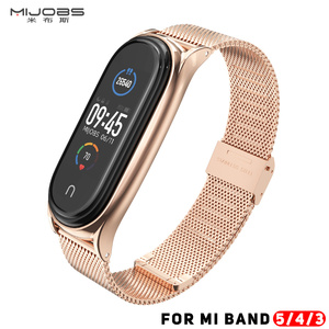 Image 1 - Mi Band 5 Strap For Xiaomi Mi Band 4 Strap Metal Milanese Stainless Steel  Compatible Bracelet Wrist Pulseira Mi band 3 Correa