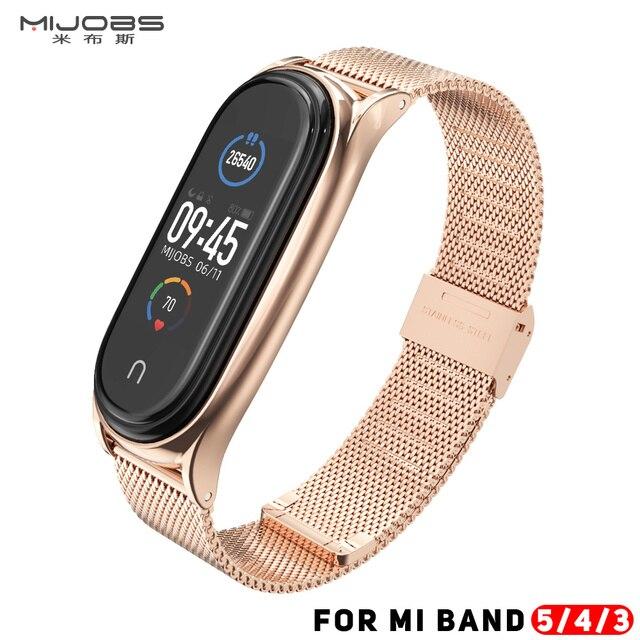 Mi Band 5 Strap For Xiaomi Mi Band 4 Strap Metal Milanese Stainless Steel  Compatible Bracelet Wrist Pulseira Mi band 3 Correa